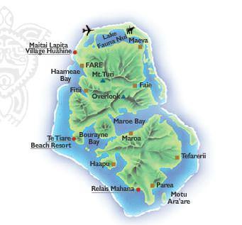 Tahiti Islands Map Overwater Bungalows Luxury